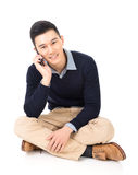 Man of Asian take a call Stock Image
