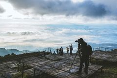 Man asians travel relax in the holiday. Photograph landscape on the Moutain.Thailand. Man asians travel relax in the holiday. Photograph landscape on the Moutain royalty free stock photography