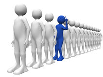 A man asking a question. A man in the queue is asking a question. Conceptual illustration Stock Image