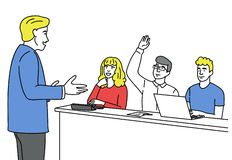 Man asking with raised hand vector illustration. Man asking with raised hand. Young student in the audience with a question to speaker or teacher. Vector stock illustration