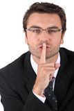 Man asking for silence Stock Photography