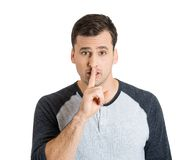 Man asking to stay quiet Stock Photo