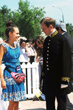 A man asks a woman for a dance. MOSCOW - JUNE 08, 2014:A man asks a woman for a dance. Times and Ages International Historical Festival in Kolomenskoye park Stock Photography