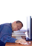 Tired computer guy Royalty Free Stock Photography
