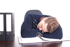 Man Asleep at His Desk Stock Photos