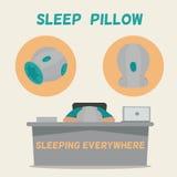 Man asleep on the job. Pillow for sleeping everywhere. Stock Photos