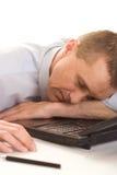 Man asleep with laptop Stock Photos