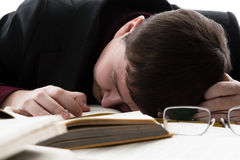 Man asleep reading Stock Photo