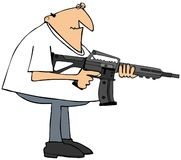 Man with an assault rifle. This illustration depicts a man holding a black assault rifle Stock Images
