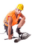 Man assembling a Jackhammer Royalty Free Stock Photography