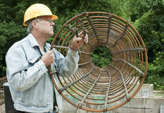 Man assembling rebar forms Stock Image