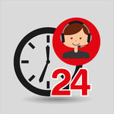 Man assistance 24 hours clock. Vector illustration eps 10 Stock Images