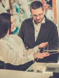 Man with assistant in jewellery shop Royalty Free Stock Photo