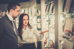 Man with assistant in jewellery shop Stock Photos