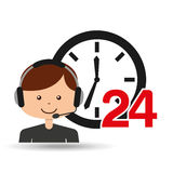 Man assitance 24 hours clock. Vector illustration eps 10 Stock Photos