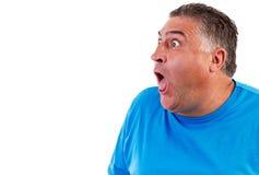 Man with astonished expression. Isolated on white background Stock Image