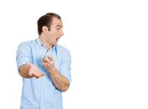 Man astounded pointing Royalty Free Stock Photos