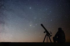Man with astronomy telescope looking at the stars. Man telescope and starry sky. Night sky. Milky way galaxy stock photography