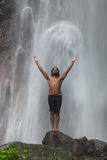 Man At Waterfall Royalty Free Stock Images