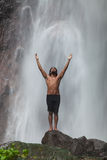Man At Waterfall Stock Photos
