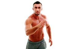 Man athlete doing running exercise Stock Photos