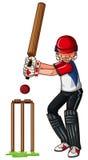 Man athlete playing cricket. Illustration stock illustration