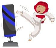 Man athlete practicing taekwondo. Illustration vector illustration