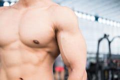 Man athlete prepare for training in gym. bodybuilder male workin Royalty Free Stock Photos