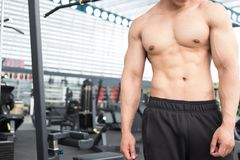 Man athlete prepare for training in gym. bodybuilder male workin Stock Photography