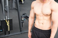 Man athlete prepare for training in gym. bodybuilder male workin Stock Photo