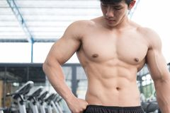 Man athlete prepare for training in gym. bodybuilder male workin Royalty Free Stock Image