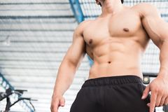 Man athlete prepare for training in gym. bodybuilder male workin Royalty Free Stock Photography