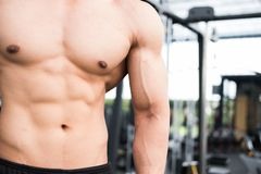 Man athlete prepare for training in gym. bodybuilder male workin Royalty Free Stock Images