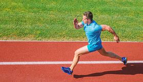 Man athlete run to achieve great result. How run faster. Speed training guide. List ways to improve running speed. Athlete runner sporty shape in motion. Sport royalty free stock images