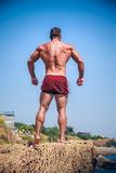 Man Athlete stands on a rock by the sea Stock Photography