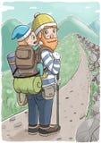 Man att bära en behandla som ett barn i ryggsäck och att fotvandra på en bergslinga stock illustrationer