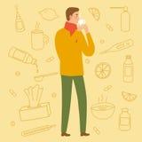 Man att dricka en bot för förkylning och influensa royaltyfri illustrationer