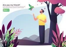 Man att gå på trä eller skogen nära fågel och träd stock illustrationer