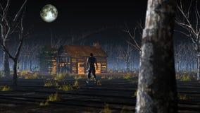Man att gå till den avlägsna träkabinen i dimmigt landskap med döda träd Arkivbilder