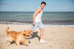 Man att jogga och att ha gyckel med hunden på stranden arkivfoton