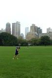 Man att jogga på Central Park i en molnig dag för höst Royaltyfria Bilder