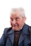 man att le för pensionär Arkivbild