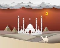Man att rida en kamel i öknen på vec för nattMasjid bakgrund Royaltyfria Bilder