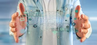 Man att rymma en 3d som framför begrepp för konstgjord intelligens med Fotografering för Bildbyråer