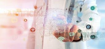 Man att rymma en 3d som framför begrepp för konstgjord intelligens med Arkivfoton