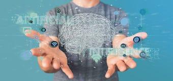 Man att rymma en 3d som framför begrepp för konstgjord intelligens med Royaltyfri Foto