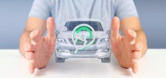 Man att rymma en elektrisk smartcar tolkning för begrepp 3d Royaltyfri Fotografi