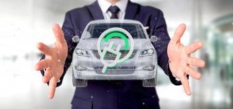 Man att rymma en elektrisk smartcar tolkning för begrepp 3d Royaltyfria Foton