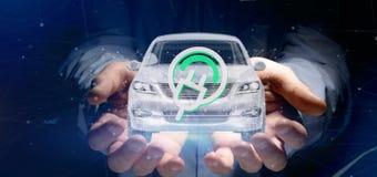 Man att rymma en elektrisk smartcar tolkning för begrepp 3d Arkivfoton
