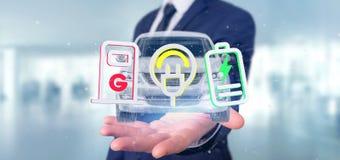 Man att rymma en elektrisk smartcar tolkning för begrepp 3d Arkivbild